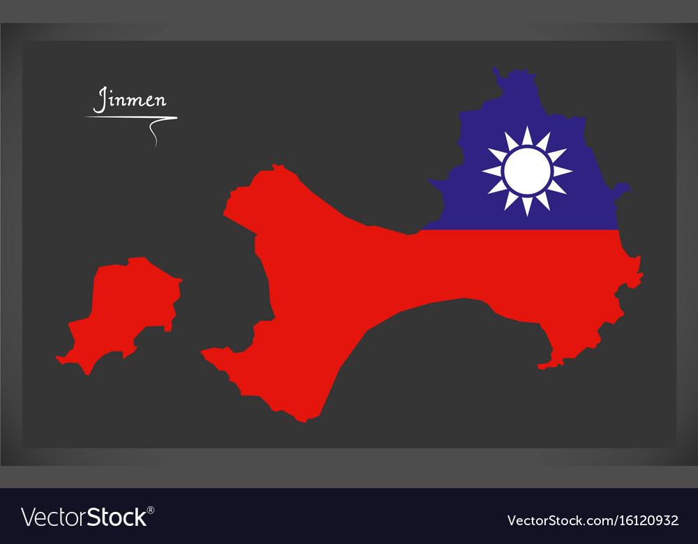 Jinmen taiwan map with taiwanese national flag vector image