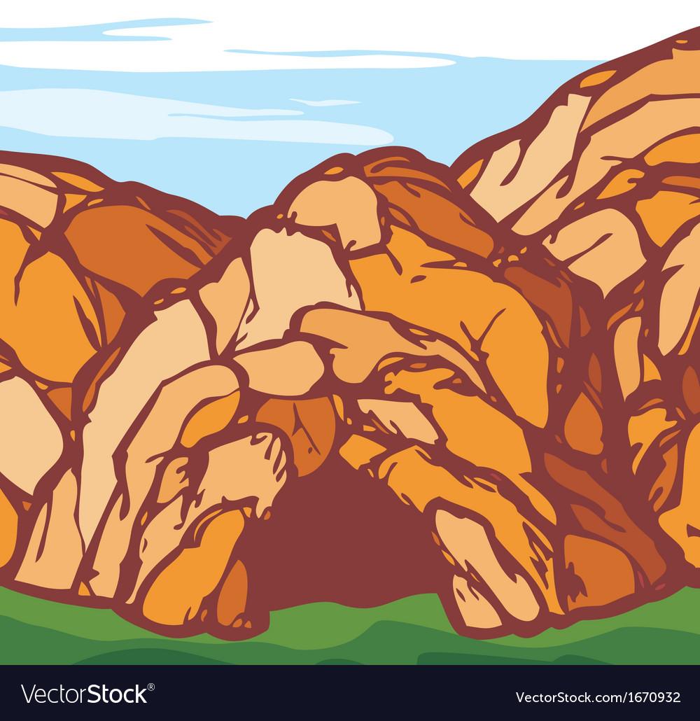 Rock cave vector image