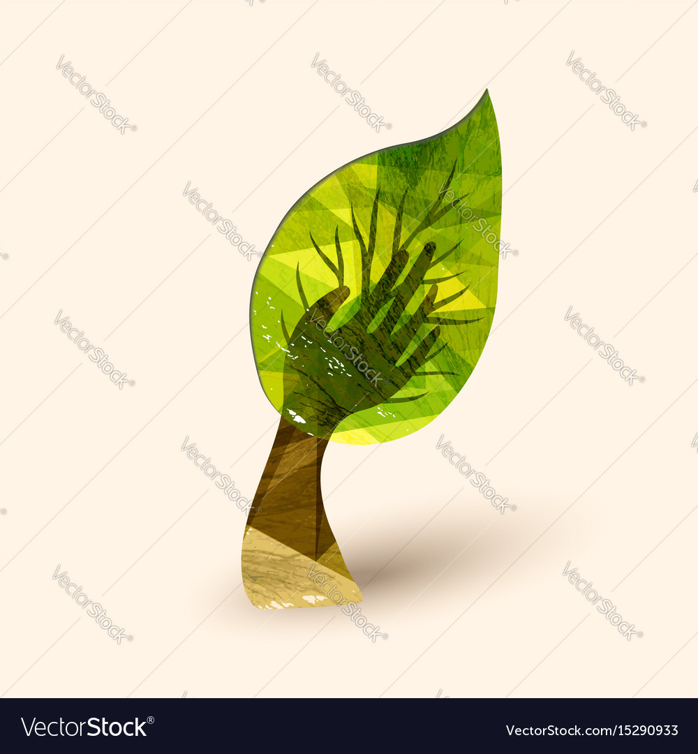 Hand tree green environment help vector image