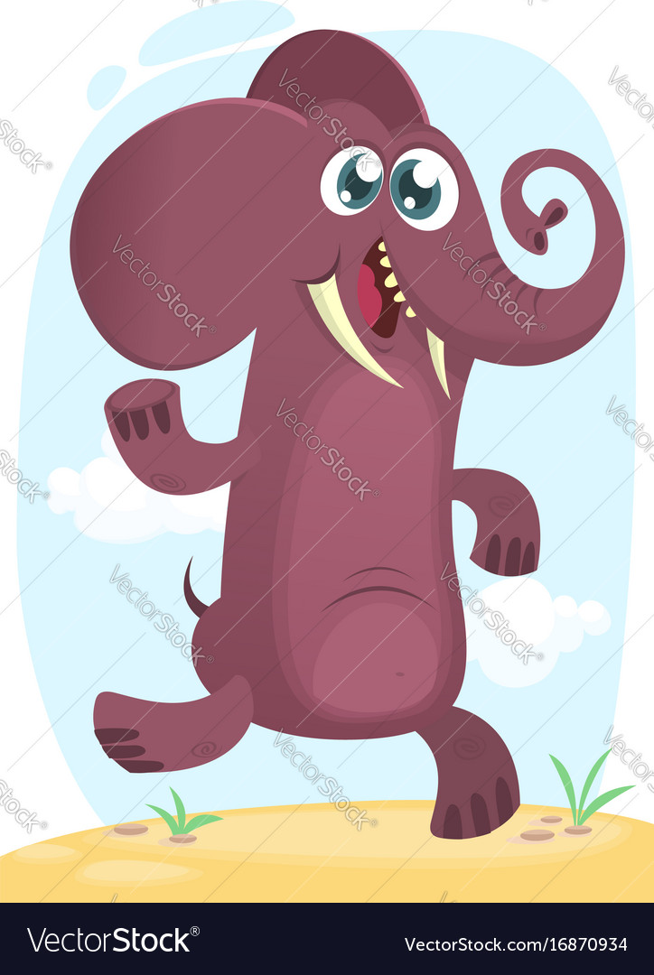 Cartoon funny elephant dancing excited vector image