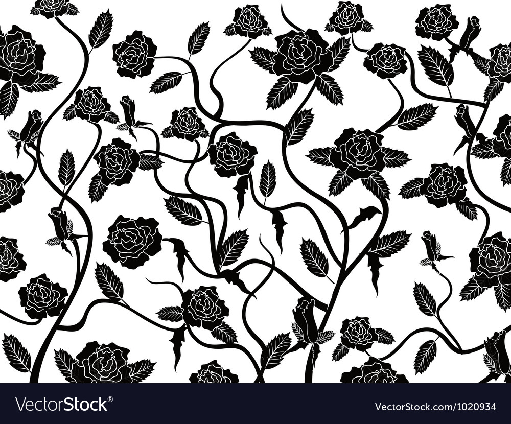 Rose seamless pattern background vector image