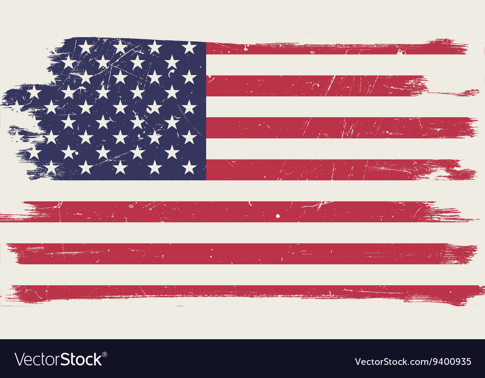 American flag with grunge frame vector image