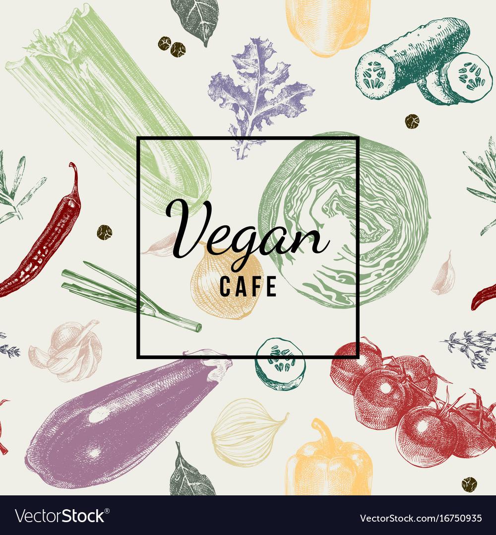 Vegan cafe logo over vegetable background vector image