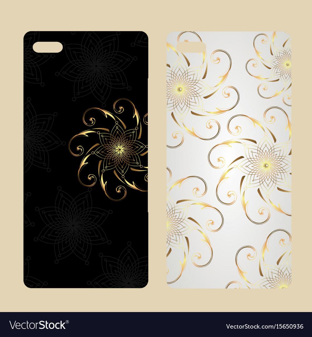 Phone case design vintage decorative elements vector image