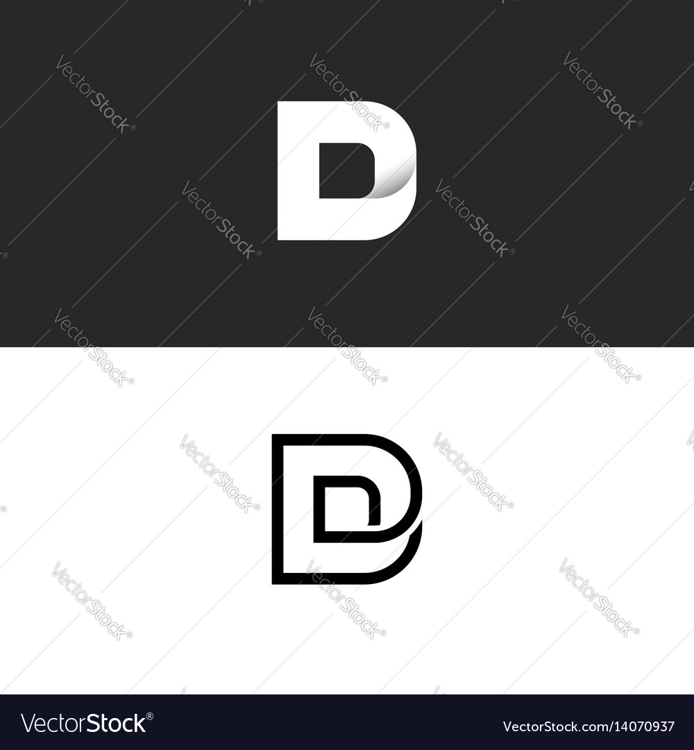 D letter logo monogram typography design element vector image