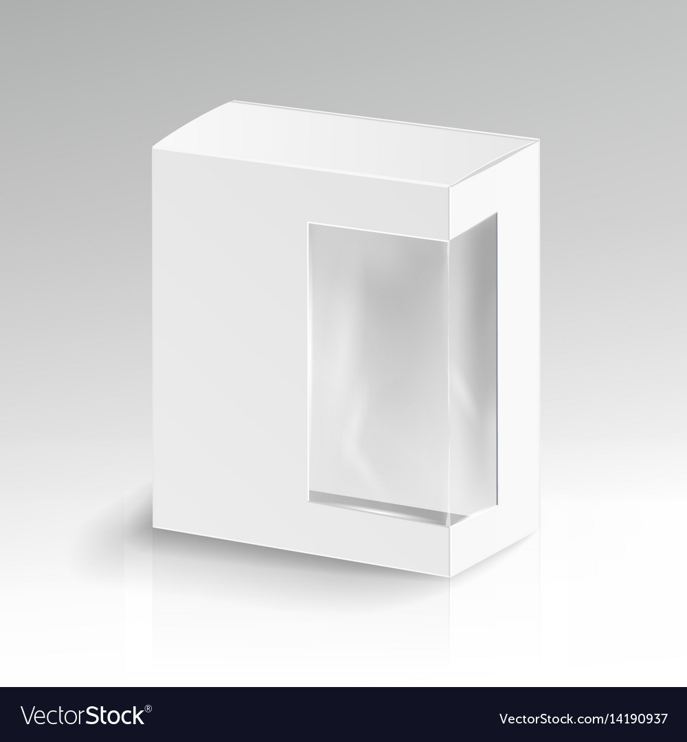 White blank cardboard rectangle realistic vector image
