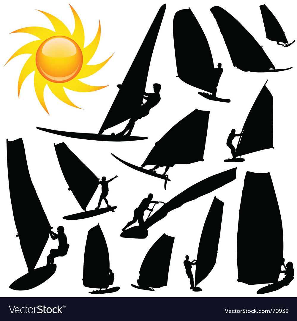 Wind surfing vector image