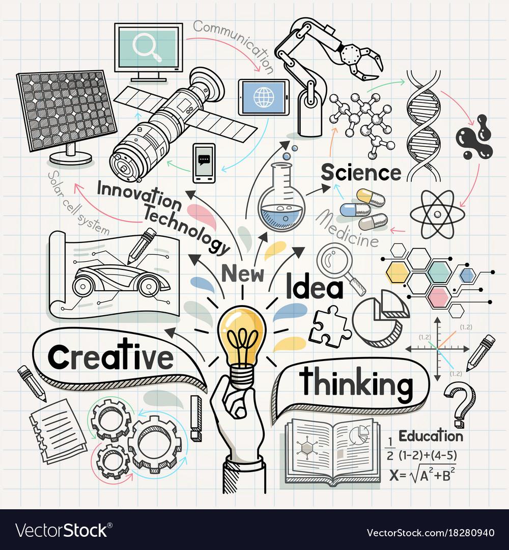 Doodles idea diagram conceptual vector image