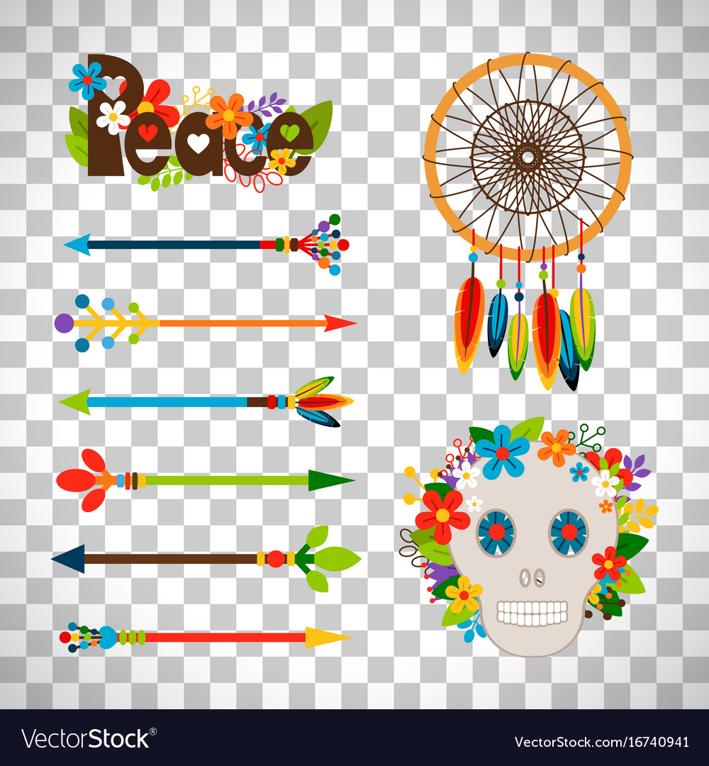 Hippie or boho elements vector image