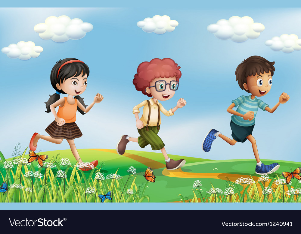 Kids running at the hills vector image