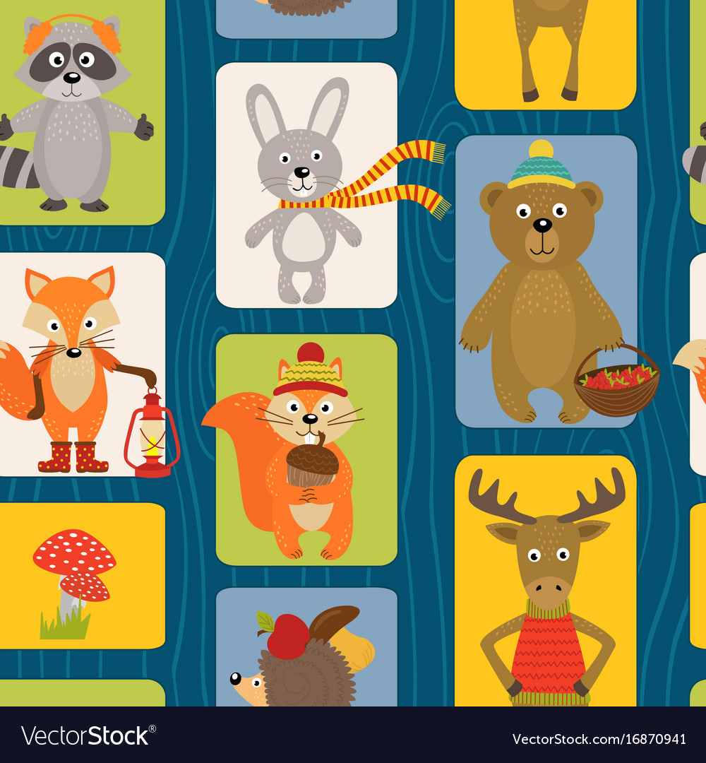 Seamless pattern with animals of forest vector image