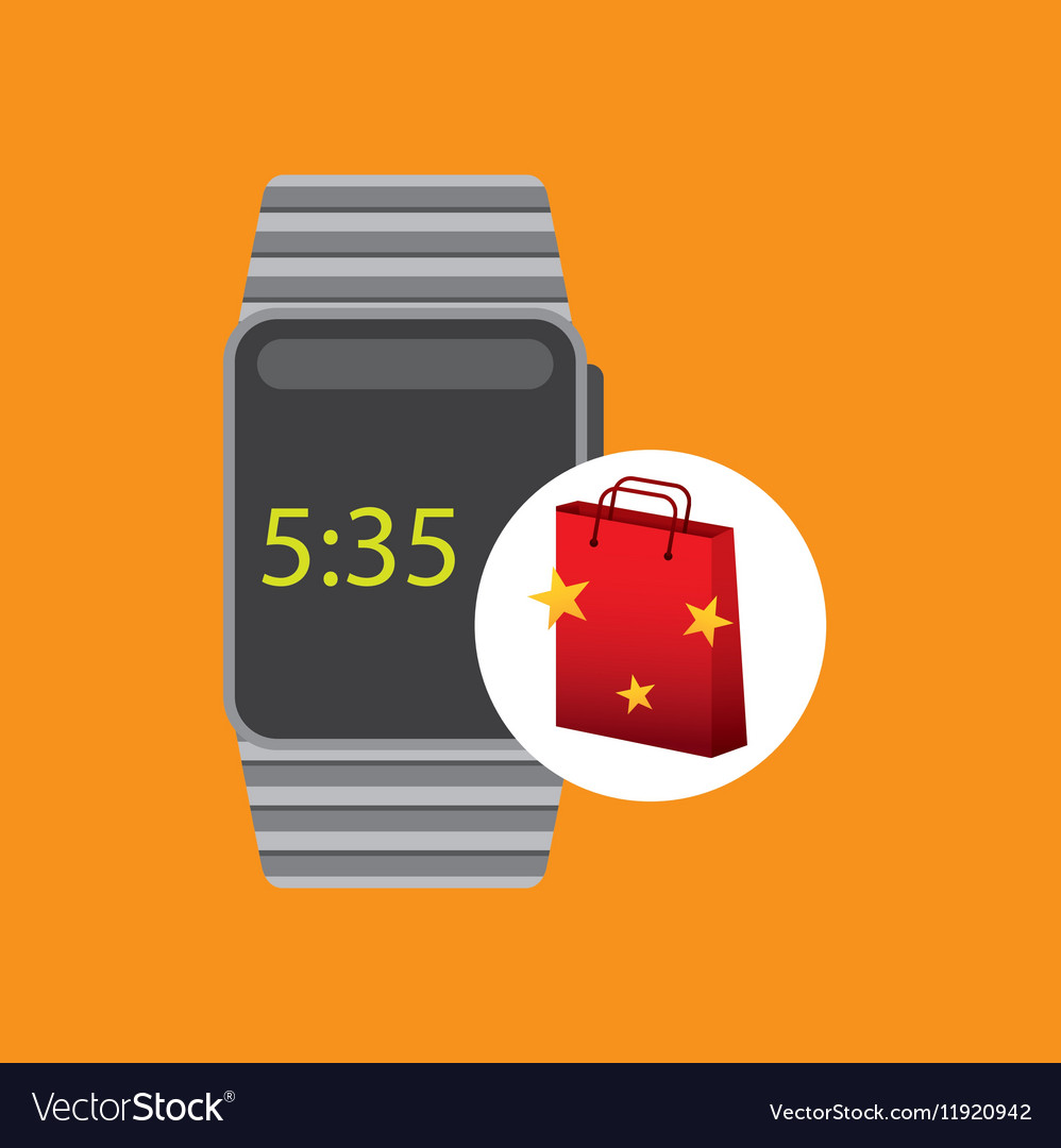 Smart watch red bag gift star design vector image