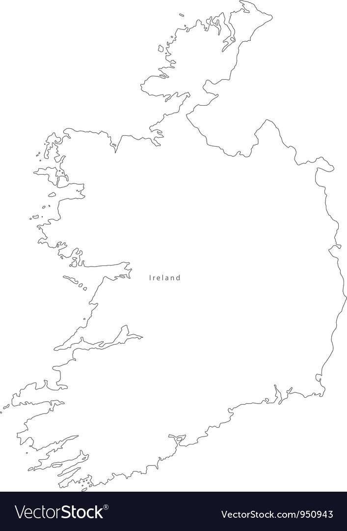 Black White Ireland Outline Map vector image