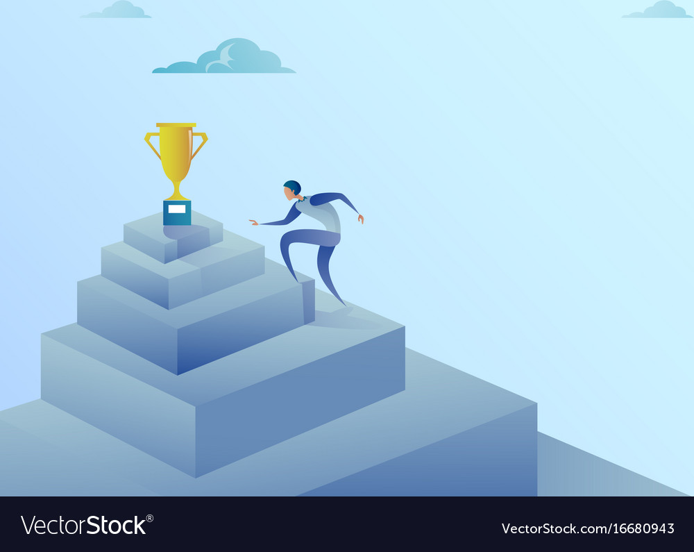 Business man climbing stairs to winner cup success for Climbing Stairs To Success  110yll