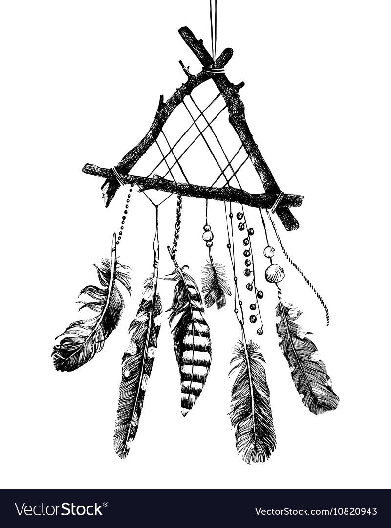 Hand drawn dream catcher vector image