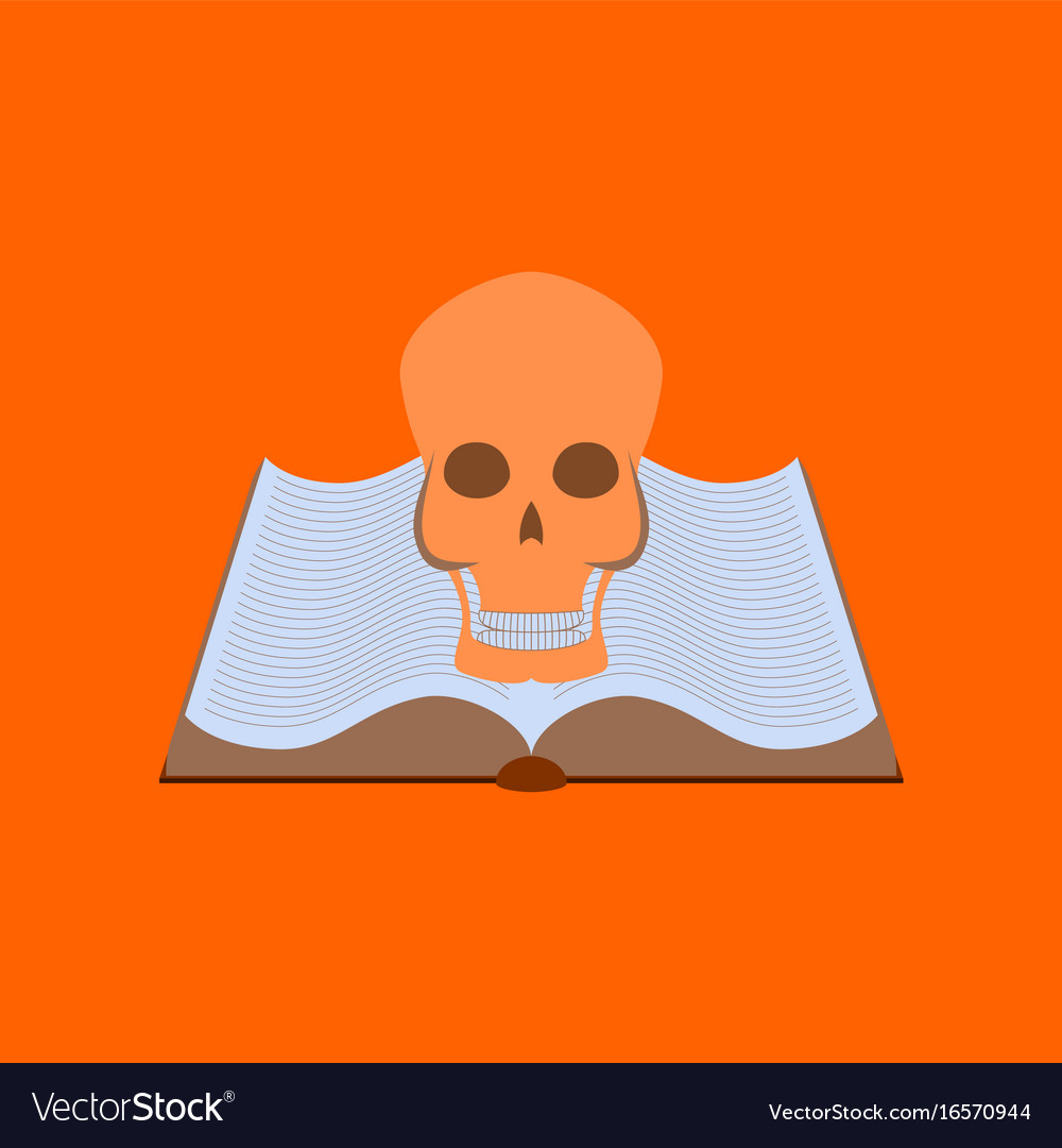 Flat on background of book skull vector image