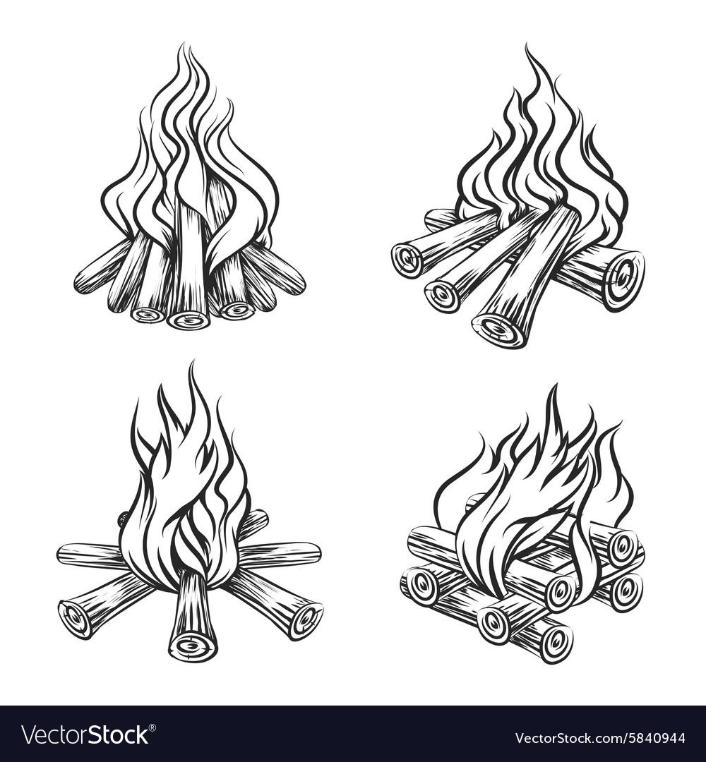 Hand drawn bonfire set vector image