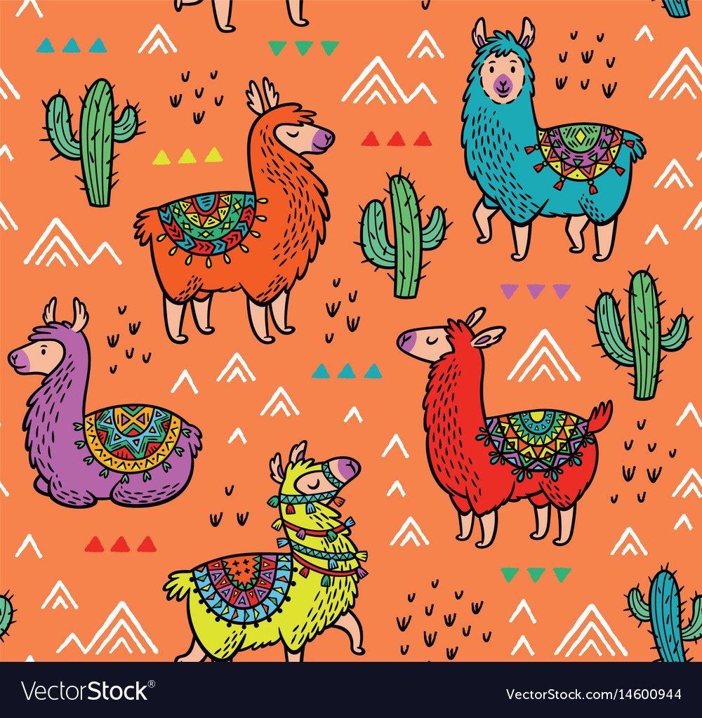 Seamless pattern with alpaca and cactuses vector image