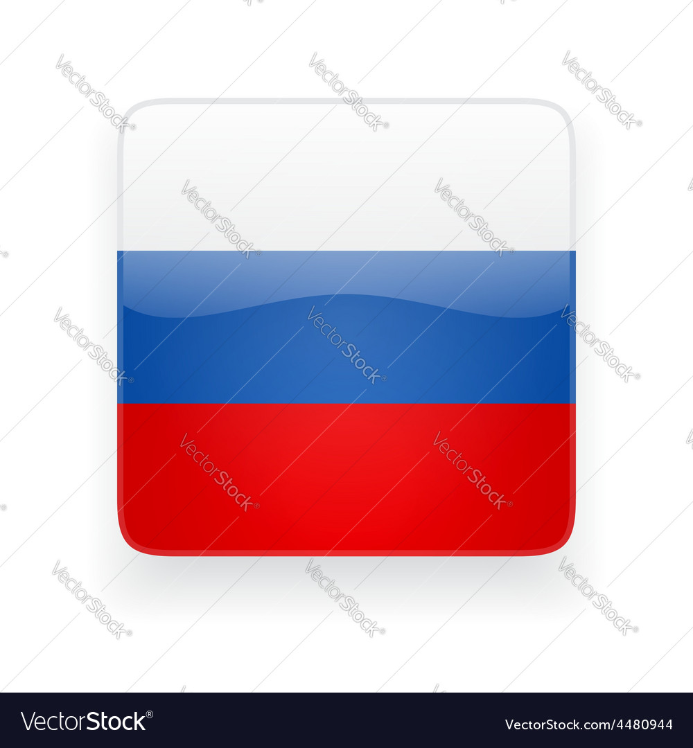 Square icon with flag of Russia vector image