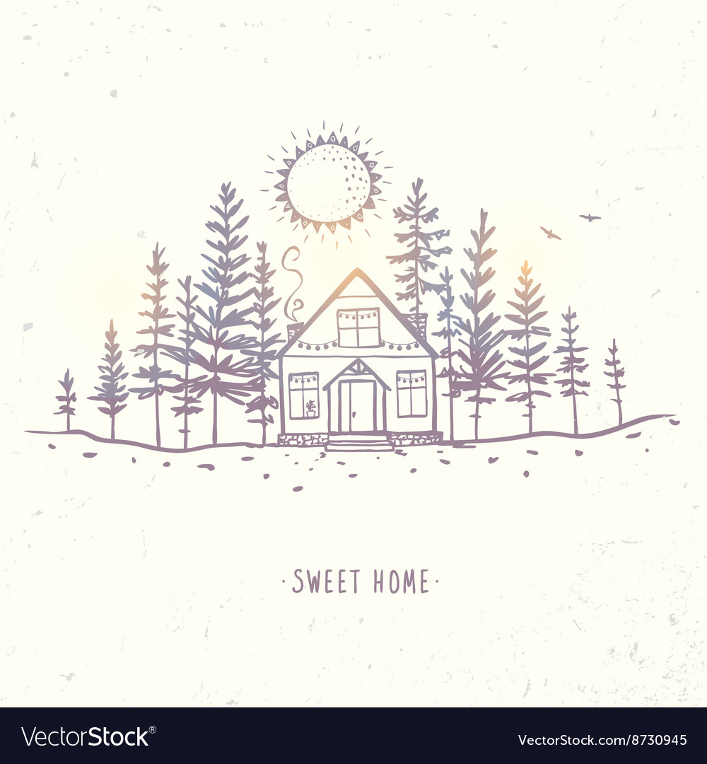 House in the woods Royalty Free Vector Image - VectorStock