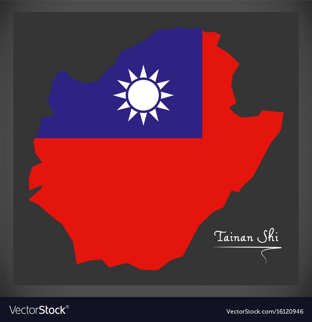 Tainan shi taiwan map with taiwanese national flag