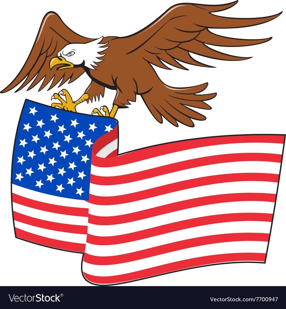 American Bald Eagle Carrying USA Flag Cartoon vector image