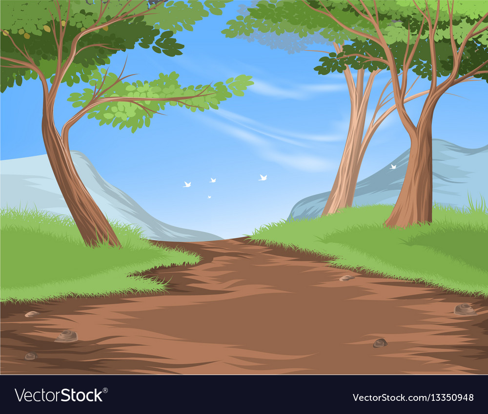 forest scene with trail to the mountain