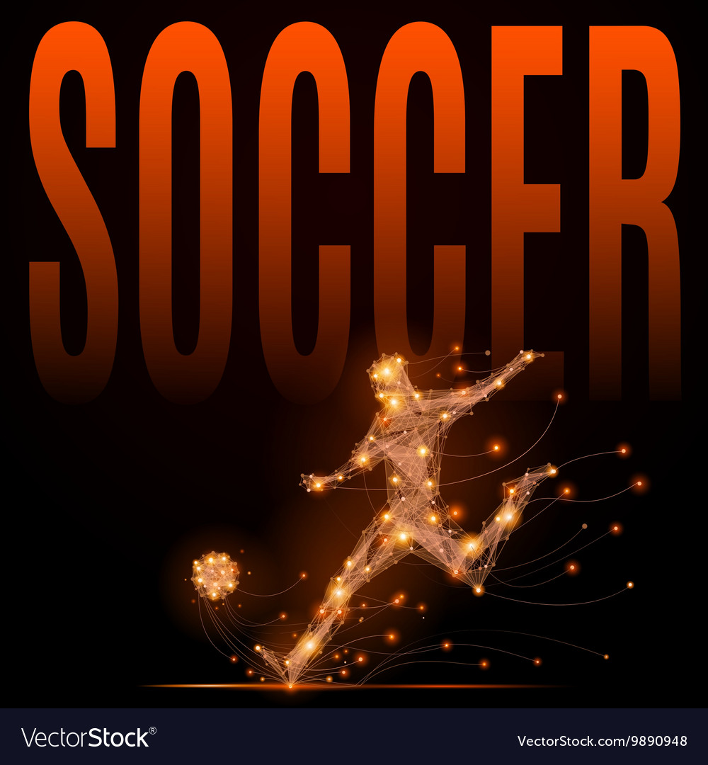 Soccer player polygonal vector image