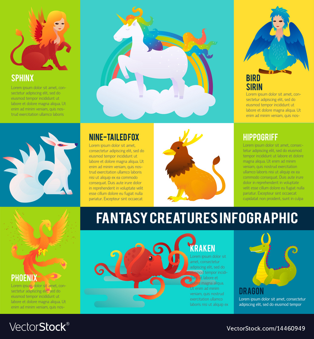 Colorful fantastic animals infographic concept vector image