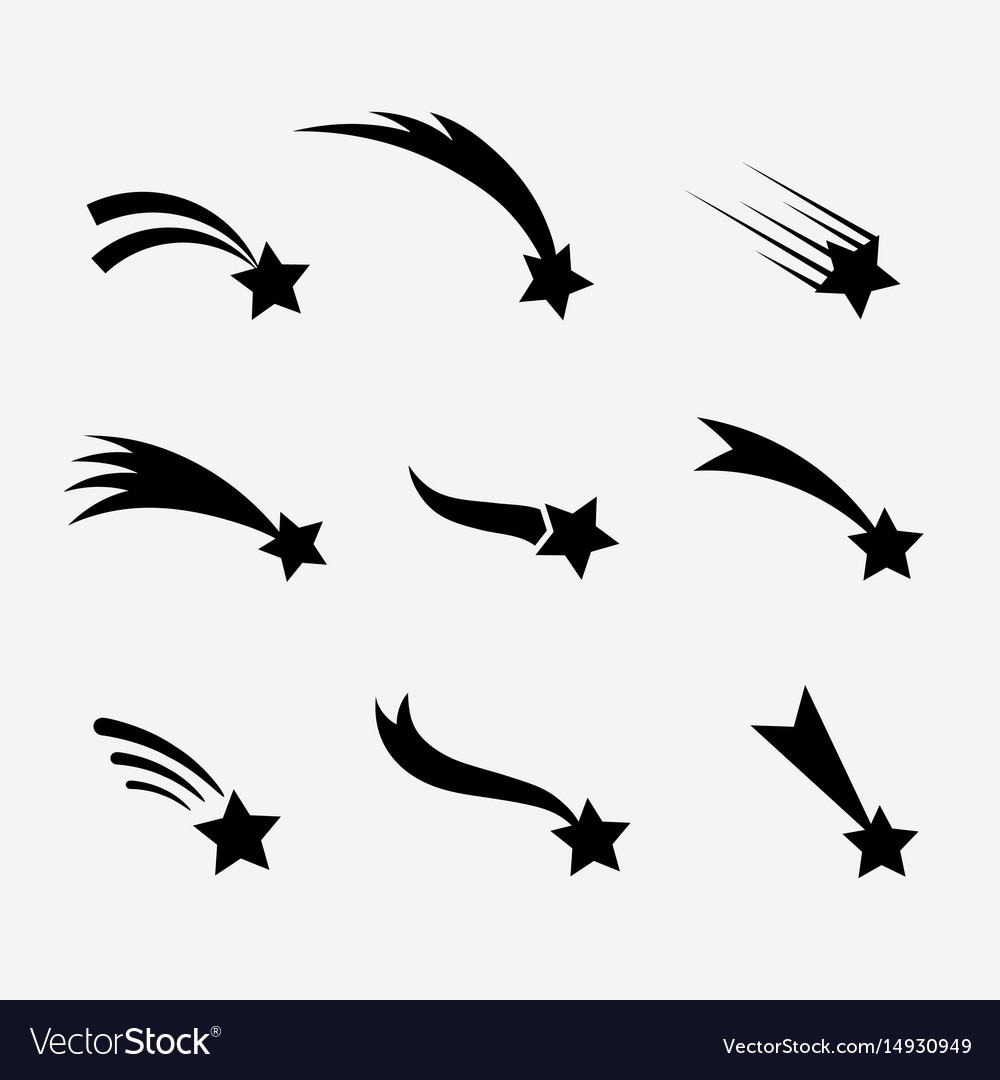 Falling stars set vector image