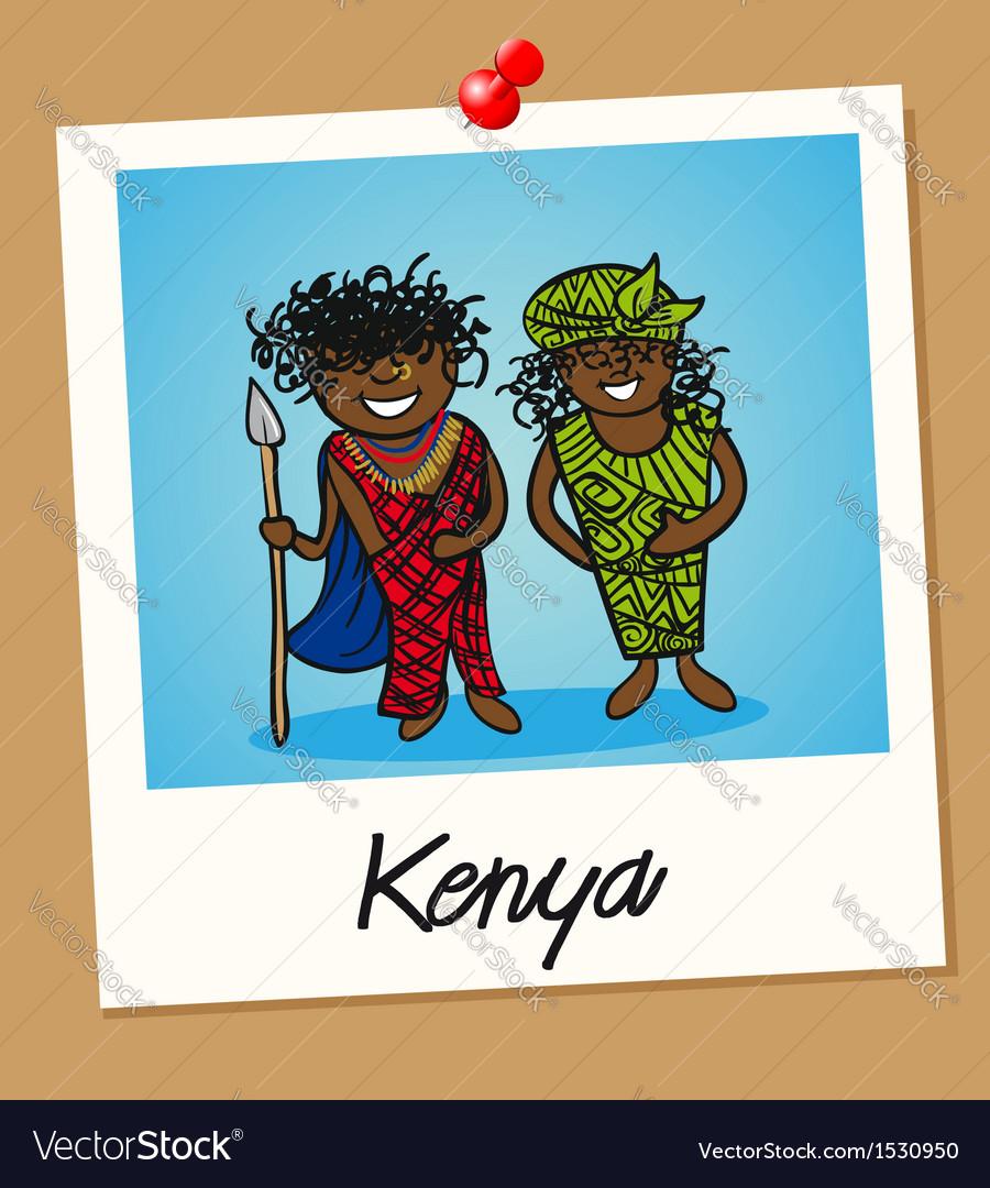 Kenya travel polaroid people vector image