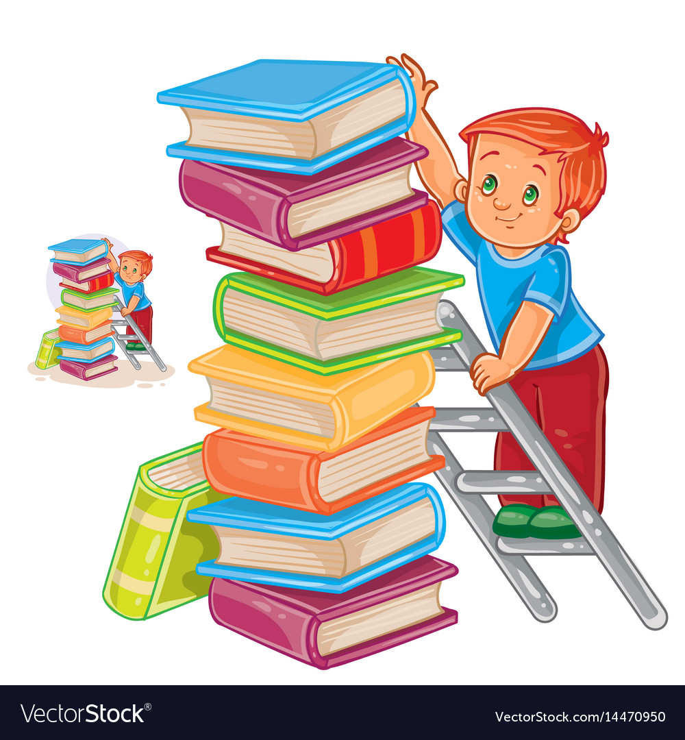 Little boy is standing on the ladder and vector image