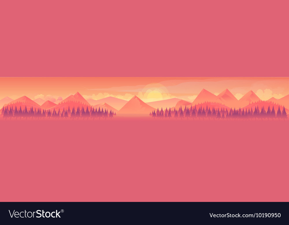 Mountains and forest nature landscape vector image