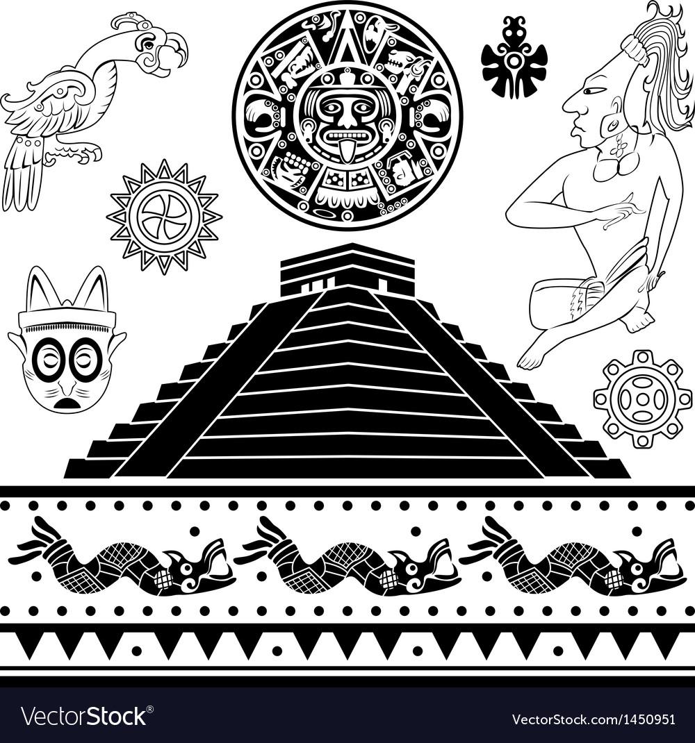 Set of ancient American ornaments vector image