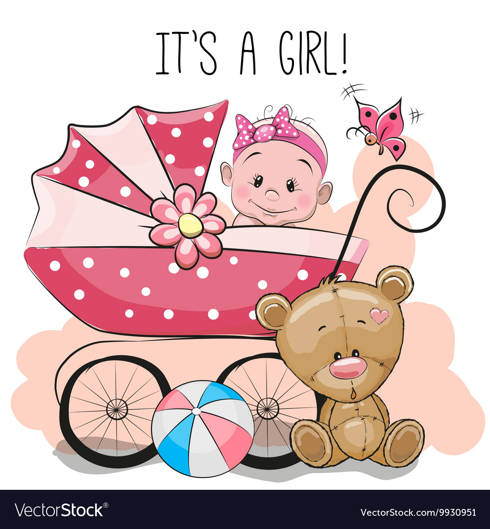 Greeting card its a girl with baby carriage and vector image