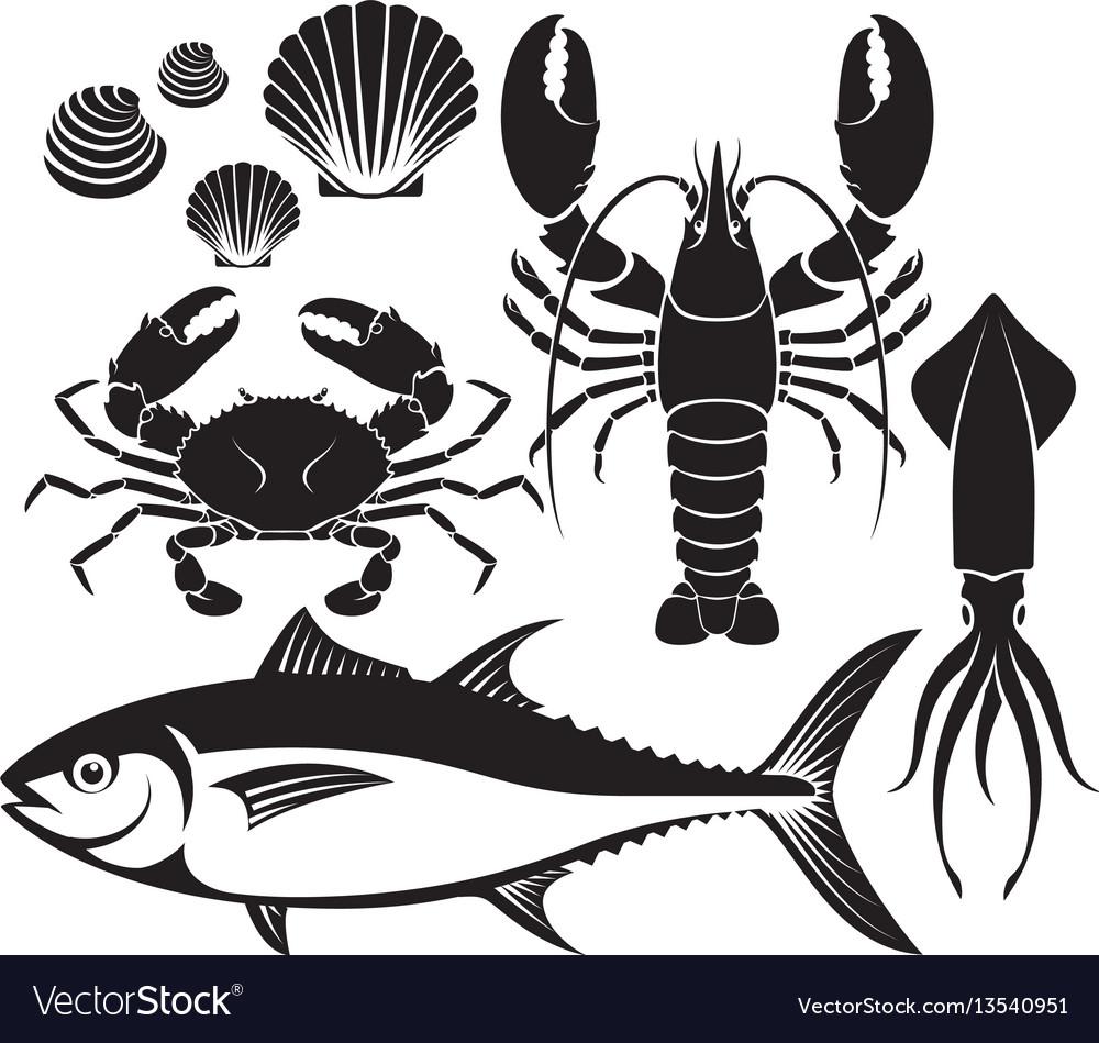 Seafood silhouette set lobster prawn crab tuna vector image