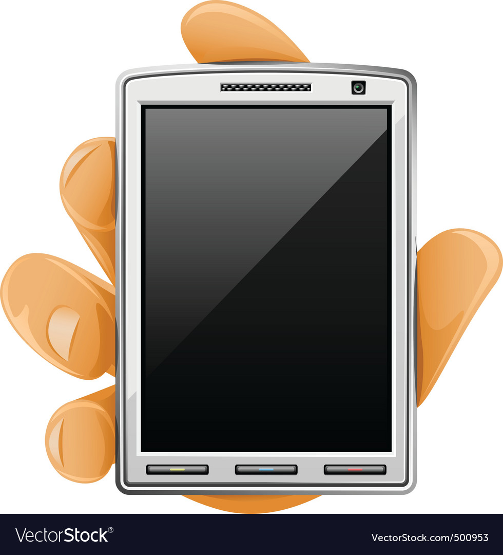 Modern mobile phone in hand vector image