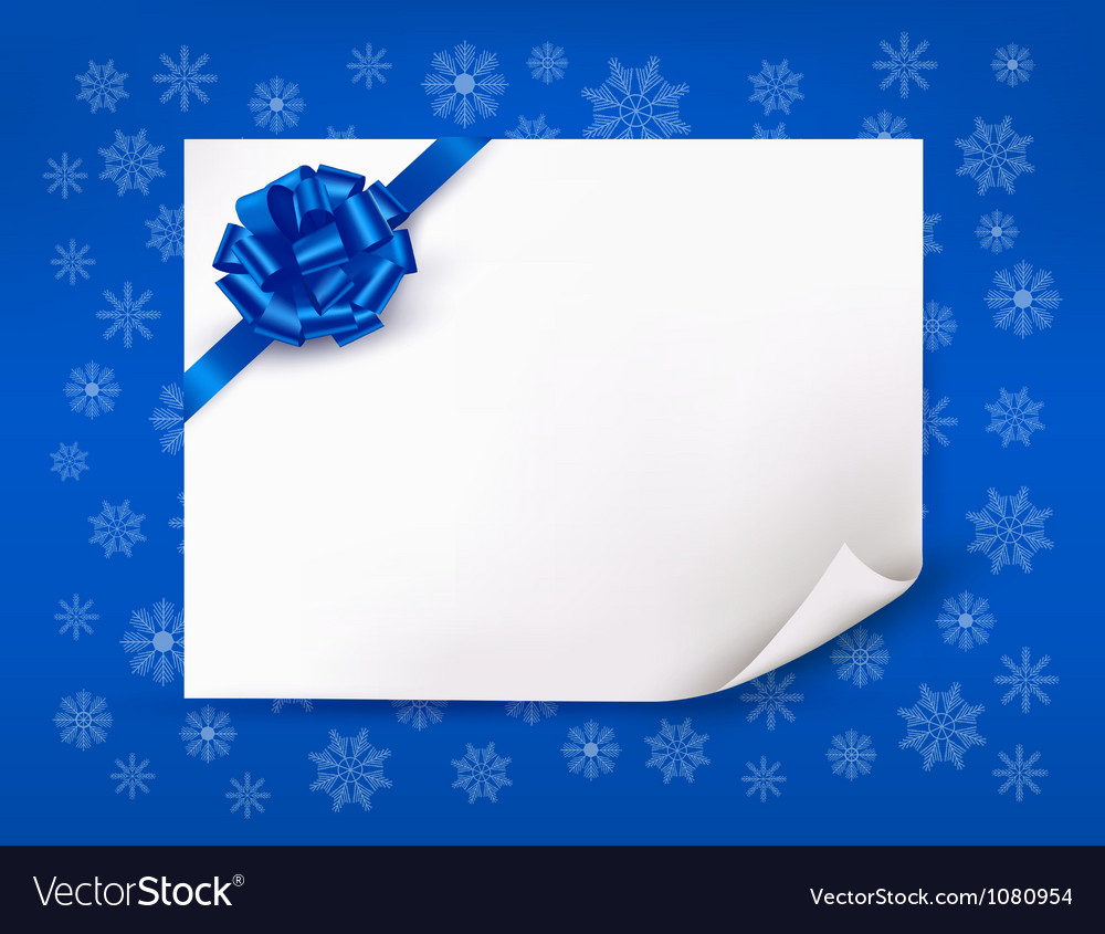 Christmas blue background with sheet of paper vector image