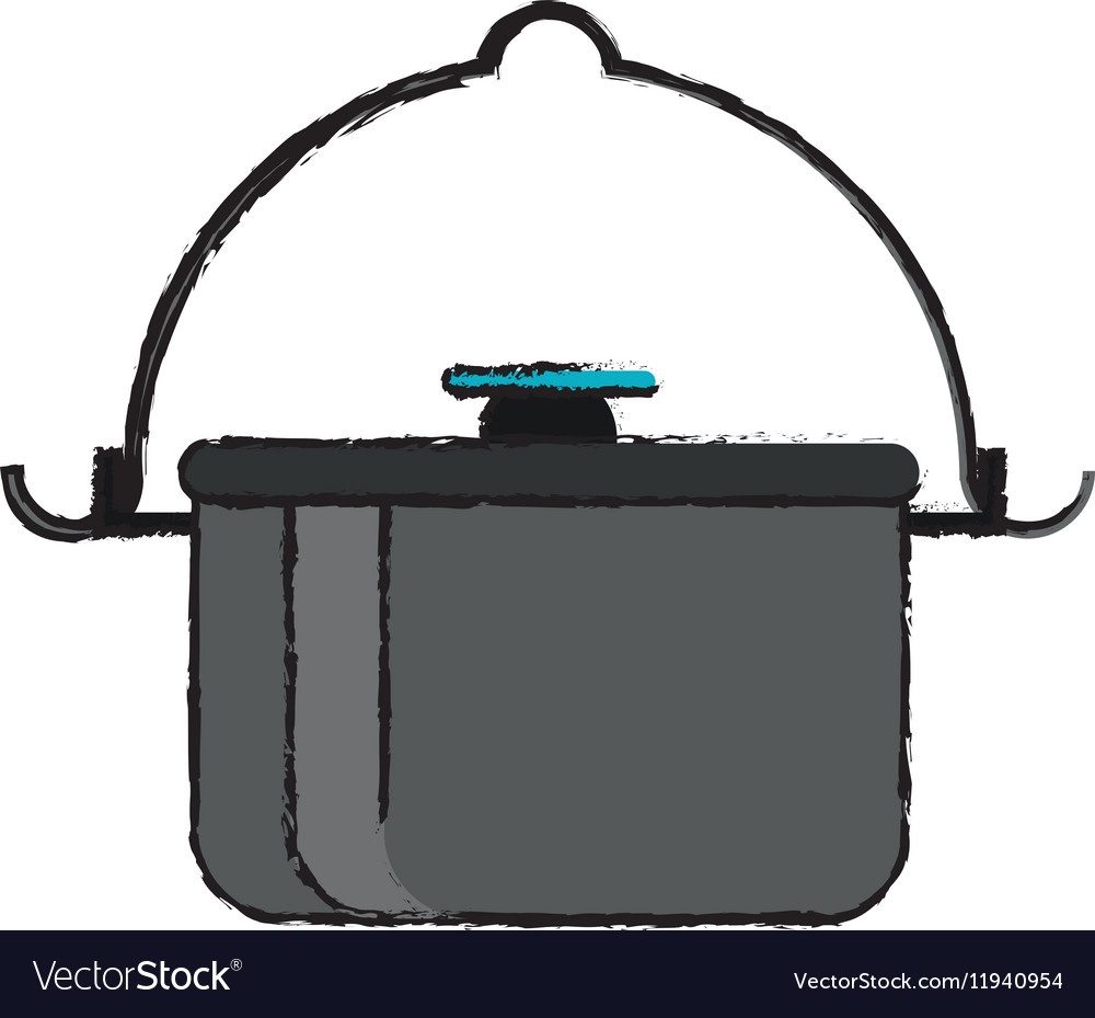 Drawing pot food element camping vector image