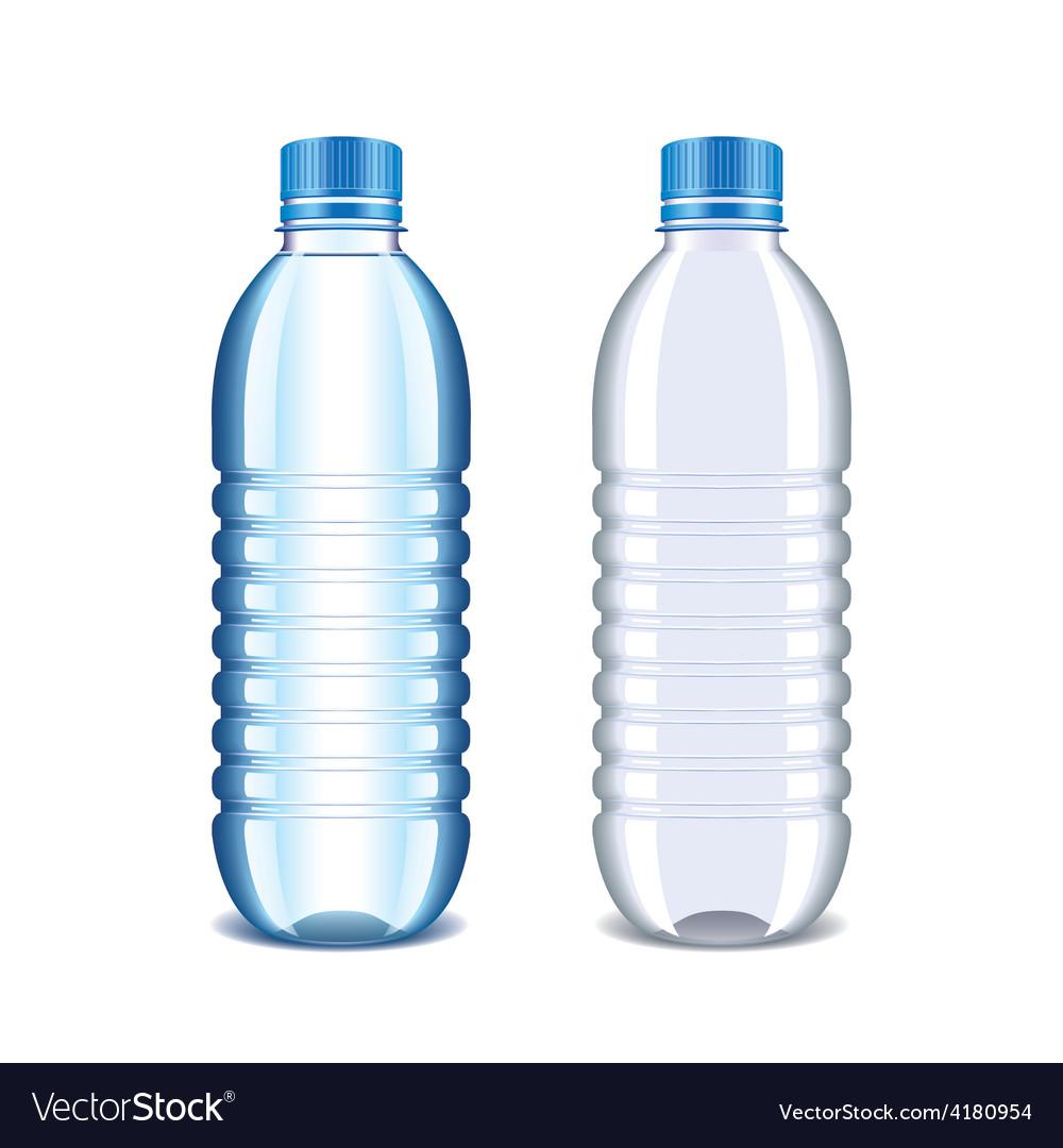 Water Bottle Vector: Plastic Bottle For Water Isolated On White Vector Image