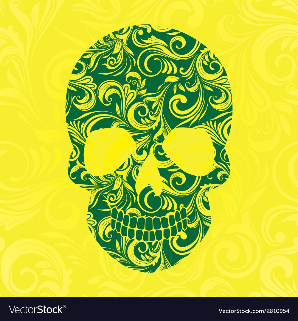 Skull Swirl Ornament Yellow vector image