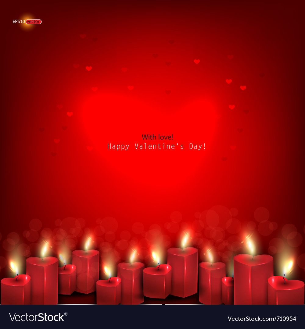 Two red burning heart shaped candles on dark red b vector image