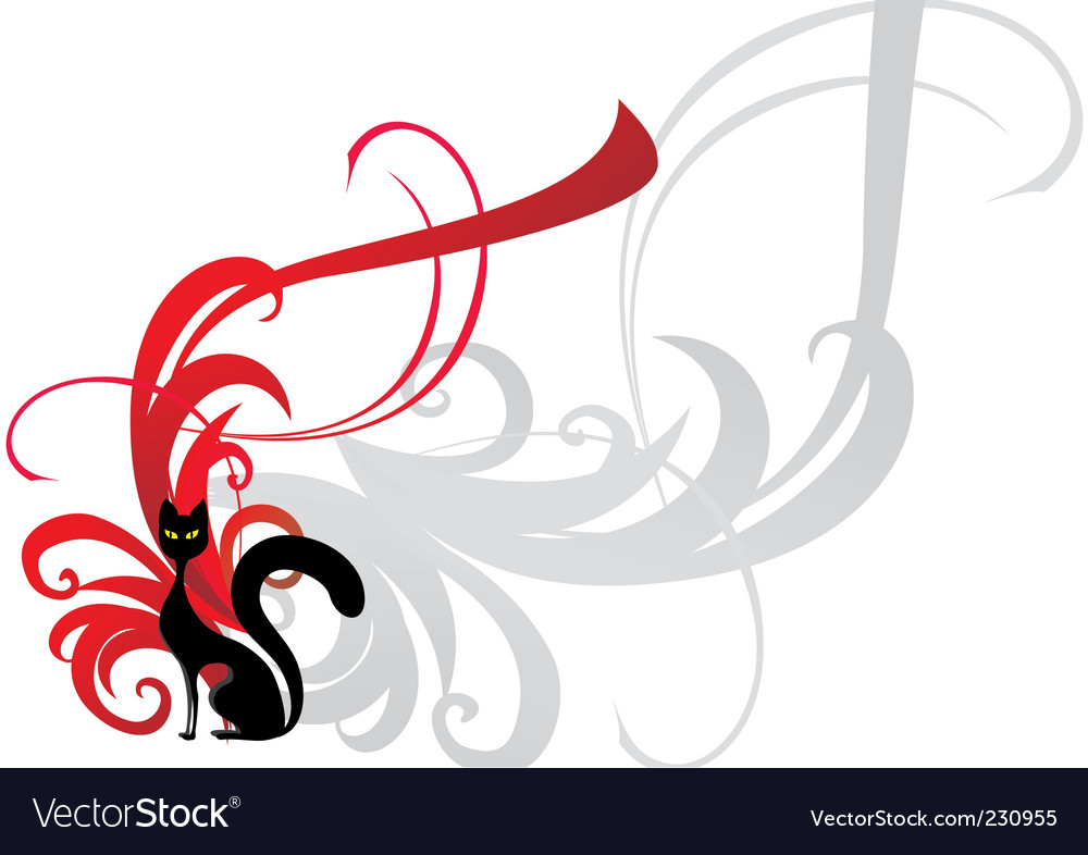 Black cat on red ornament vector image