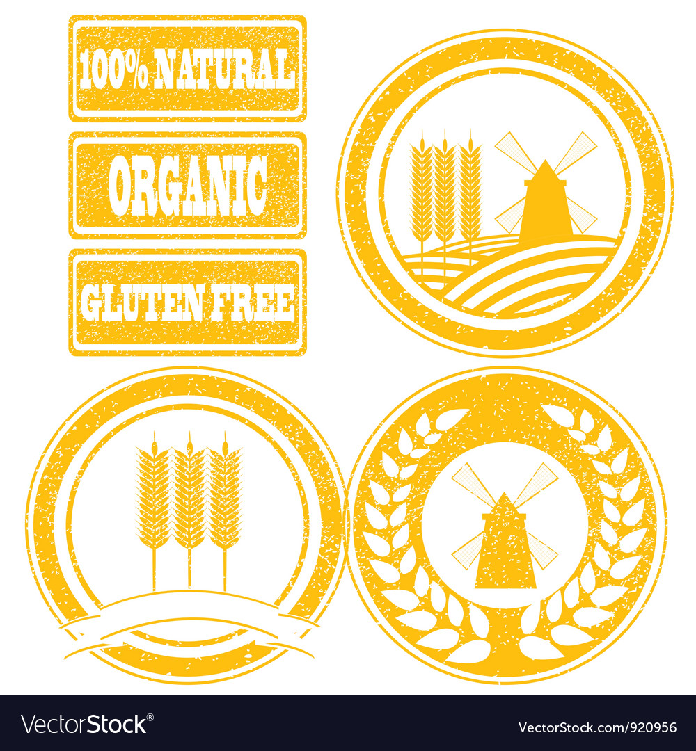 Food orange rubber stamps labels collection for Vector Image