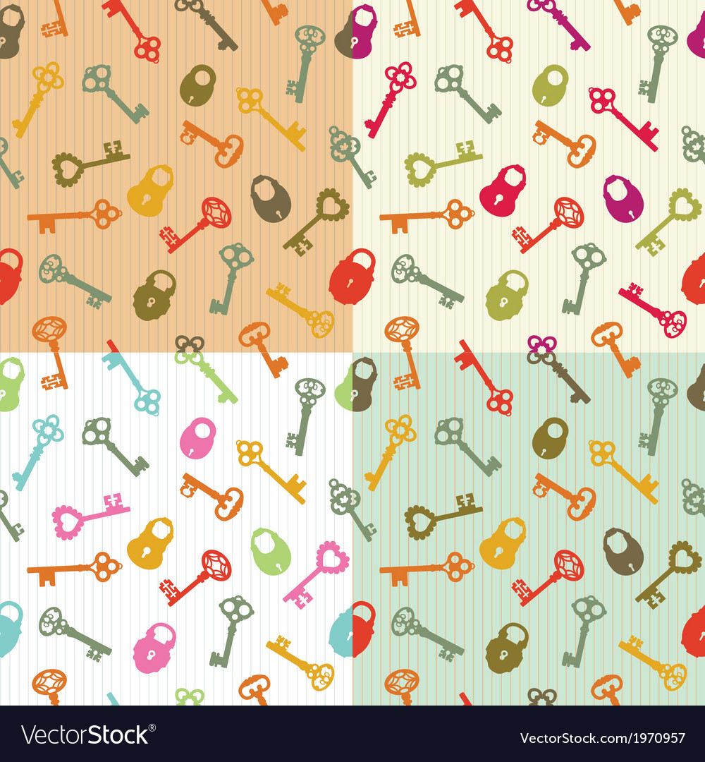 Seamless background keys and locks vector image