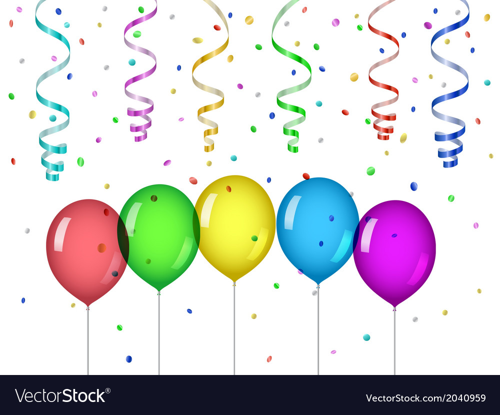Confetti and party balloons vector image