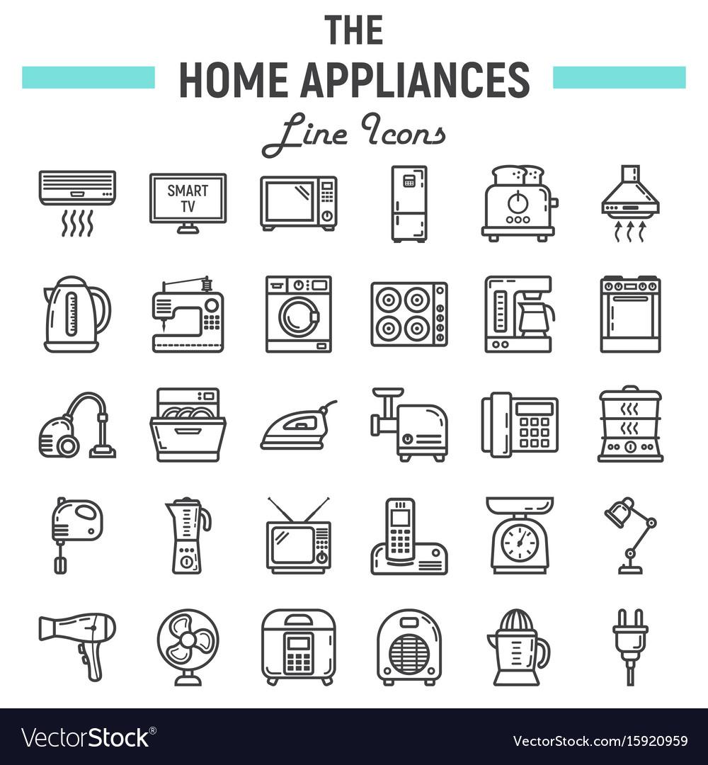 Home appliances line icon set technology symbols vector image