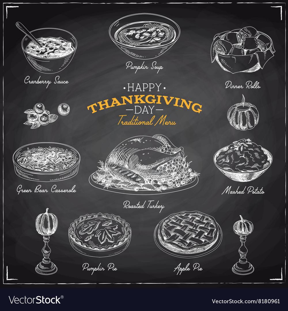 Hand drawn sketch Thanksgiving food set vector image