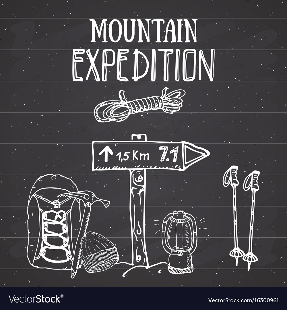 Mountain expedition vintage set hand drawn sketch vector image