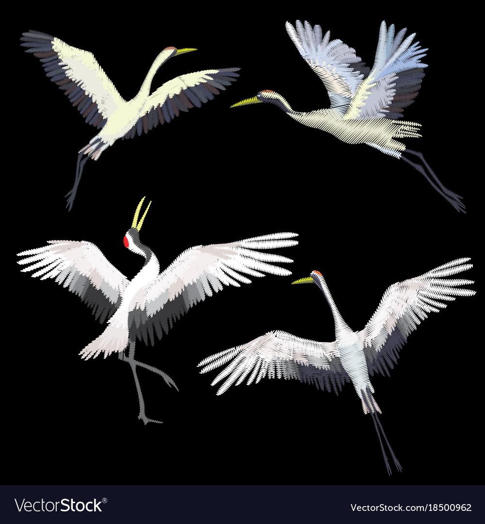 Crane embroidery vector image